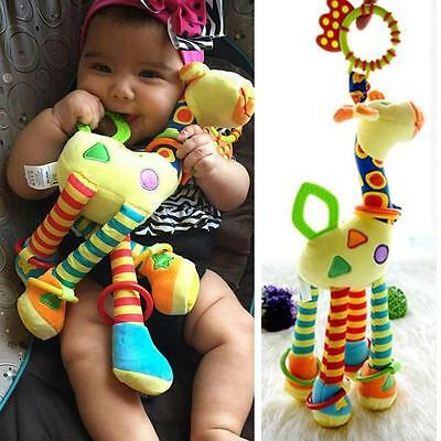 NEW Cartoon Giraffe Hand Bell Ring Rattle Baby Bed Hanging Educational Toy WD