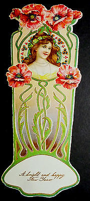 Antique Raphael Tuck Bookmark Art Nouveau New Year Die Cut Chromolitho Greeting