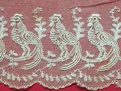 Antique ROOSTER Net LACE Border *Rare Vintage Lots listed!