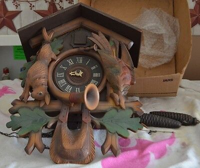 Vintage Pheasant Rabbit Cuckoo Clock-Parts-Repair-Blackforest-Chicago Ill.