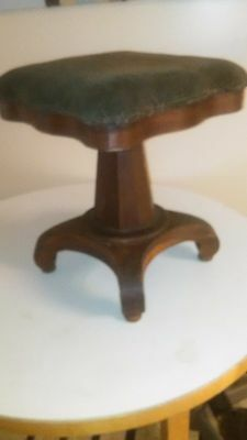 Vintage Early Empire Rosewood Antique Piano Organ Vanity Swivel Seat Music Stool