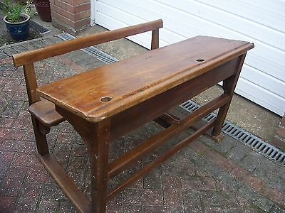 Antique Child's Elm School Double Desk With Attached Bench. Rare!
