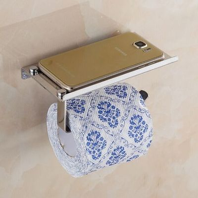 Bathroom Wall Mounted Stainless Steel Toilet Paper Tissue Roll Holder With Shelf