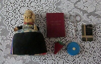 Vintage Antique Sewing Lot  Doll Pin Cushion Emery Tape Measure Scissors