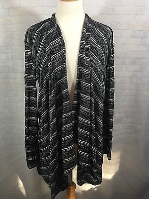 Soma Long Sleeve Open Front Top Cardigan Women's Black Gray Striped M