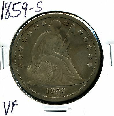 1859-S $1 Seated Liberty Silver Dollar in VF Condition
