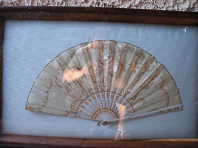 Stunning Antique Old Silk Lace Wood Hand Painted Fancy framed Fan