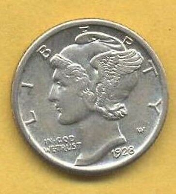 Very Nice Higher Grade 1928-P Mercury Dime. In My Opinion Coin Is ~ AU Condition