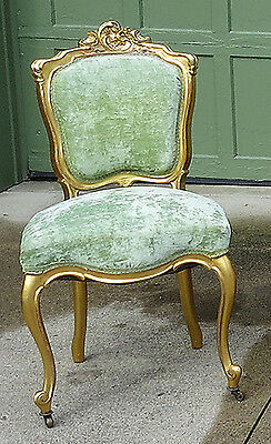 Unique Antique French Water Gilded Wood Slipper Chair c1880-1900 Louis XV style