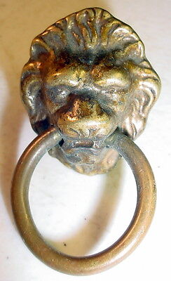 1 Antique Brass Lion-Head Drop-Ring Drawer Pull For Dresser, Cabinet, Desk, Etc.