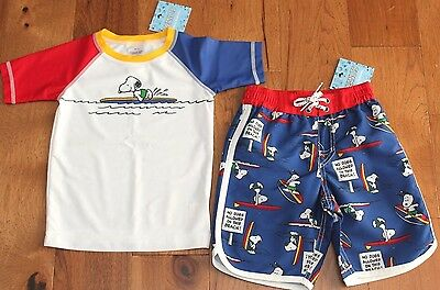 NEW Hanna Andersson BLUE SNOOPY SWIM TRUNKS + RASH GUARD sz 3 90 Boys Shorts