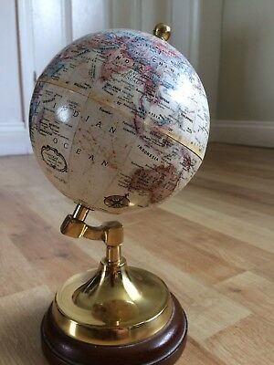 Rare Vintage Replogle World Classic Series 15 Inch Globe Brass And Wood Mounted.