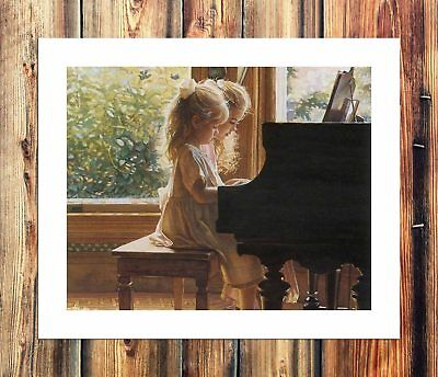 Girls play the piano HD Canvas Print Home Decor Painting Wall Art Picture