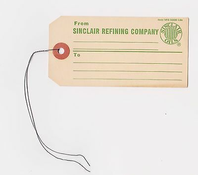 RARE VINTAGE 1960s SINCLAIR REFINING COMPANY HANGING WIRE TAG - FORM 1412 500M