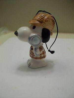 Vintage Snoopy Adventure Series Ceramic Ornament, Detective, 1975