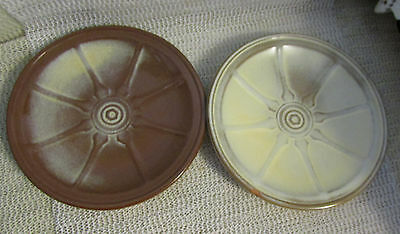 "Frankoma Desert Gold Wagon Wheel .. 2 - 7"" Desert Or Bread Plates 94G"