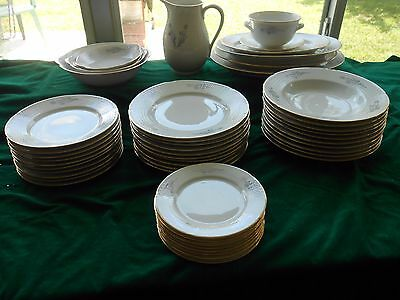 50 pc Scandanavian Porcelain Service for 10 & 10 Serving Pieces Blue & Gold