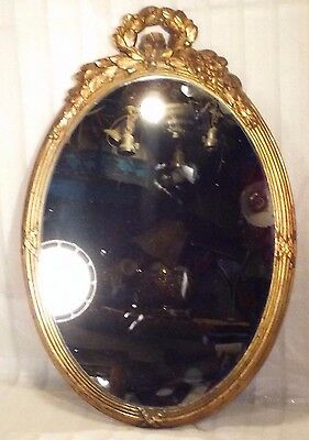 Vintage oval gold victorian mirror 19 1/2 x 13 mirroe 11 1/4 x 15 1/4 molding 1""