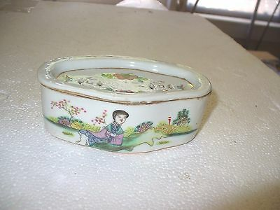 """Chinese Porcelain Famille Rose Cricket Cage Box 4"""" x 2 3/4"""" with lid"""