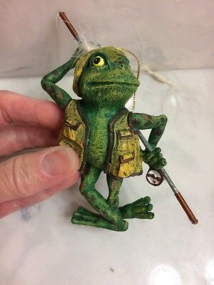Fly Fishing Fish Fisherman Green Frog Toad Christmas Ornament CUTE