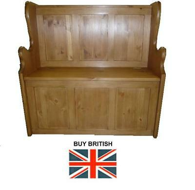 Solid Pine Monk's Bench 3Ft Wide Light Oak Finish