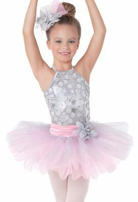 Dance Costume Child 6x Small Gray Pink Ballet Tutu Sequin Competition Pageant