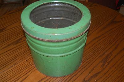 """antique 12"""" green cracker biscuit tin with window lid for general store"""