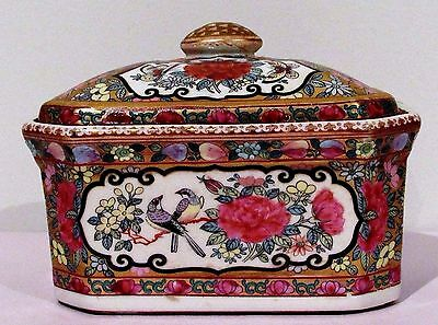 Vintage Chinese Export Pottery Famille Rose Octagonal Box Pot c.Late Republic