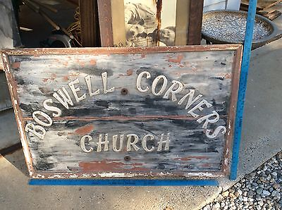 Antique wood sign Boswell corners church finger lakes New York Canandaigua area