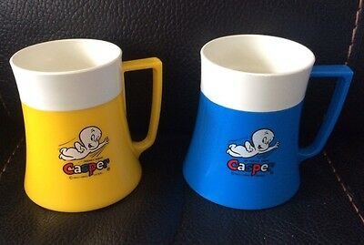 CASPER The FRIENDLY GHOST Plastic Drinking  Cups Cartoon Character 1960's 70's