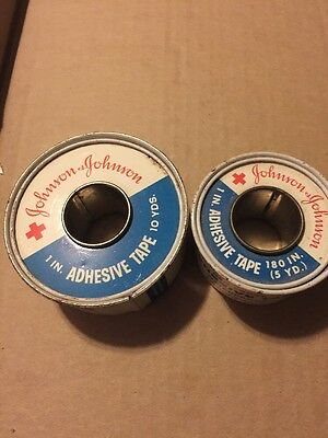 Lot of 2 Vintage Johnson And Johnson Adhesive Tape Red Cross 10 yd and 5 yd Tin