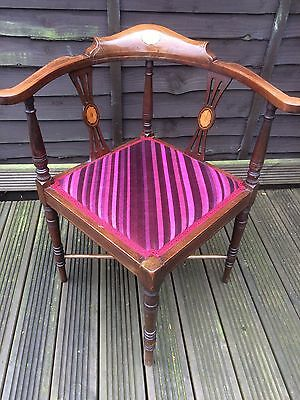 Antique Mahogany Corner Chair - Attractive Striped Fabric to suit Old or Modern
