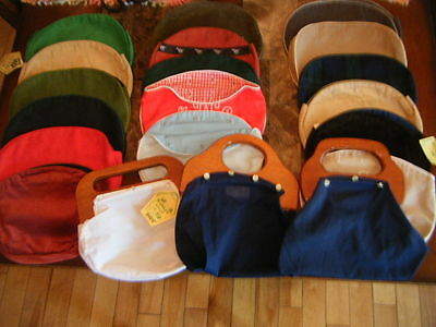 Vintage 1970's Banner House/ Beehive Purse w/ Wooden Handle Covers Lot