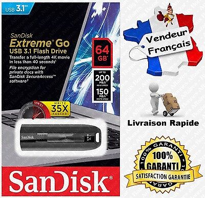 Clé USB 3.1 EXTREME SanDisk R200 W150 MB/s - Disponible 64 128 ou 256 Go Gb Giga