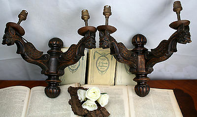 Exclusive & Rare gothic Dragon Chimaera Wood carved 1880 Wall Lights sconces