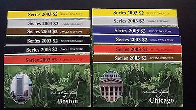 Reserve Banks Series 2003 $2 Single Star Notes Complete Set of 12