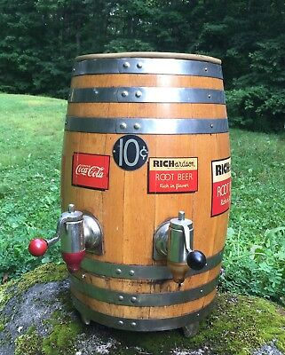 Vintage 10c RICHARDSON Root Beer COCA COLA 2 Tap Barrel Dispenser Country Store