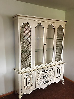 Antique white dining room, breakfront cabinet, w/table/4chairs...great find!