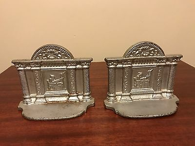 Vintage Cast Metal Bookends Book Ends Medieval
