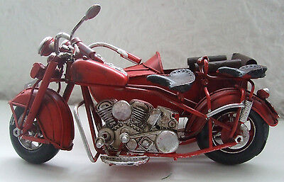Motorcycle and Sidecar Tin Plate Model  Hand Painted/ Red / Ornament /Gift