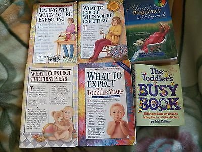 Lot of 6 Pregnancy New Mom Baby Books - What to Expect When You're Expecting +