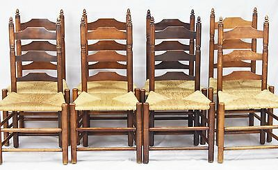 SET OF EIGHT WALLACE NUTTING Ladderback Chairs Williamsburg Style Pilgrim Style