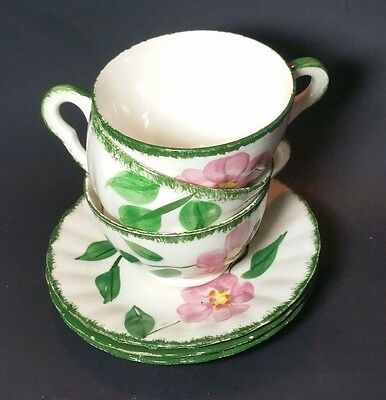 Vintage Blue Ridge Southern Pottery 3 Tea Cup AND Saucer Sets Green Pink Flowers