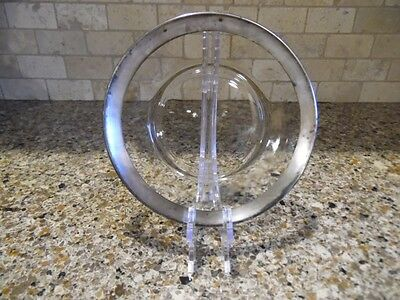 """Antique 8"""" Glass Plate with Silver Rim"""