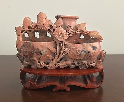 Rose-colored Vintage/Antique Chinese Scholar Soapstone Carving of Vases & Fowers