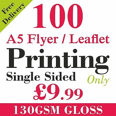 A5 Flyers/Leaflets Printed Full Colour On 130gsm Gloss -  100 Single Side