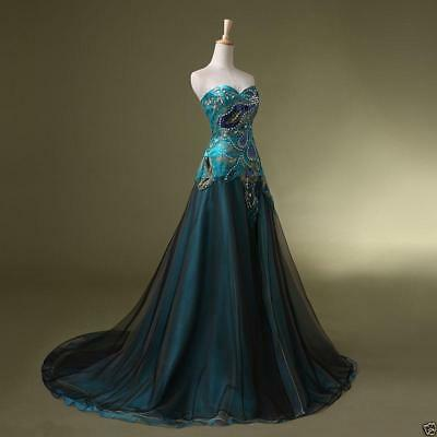 New Stock Peacock Prom Bridal Wedding Gown Formal Evening Party Dresses Q2535