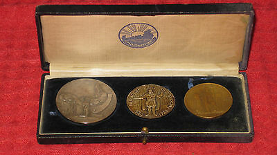 FULL SET 1930 Althing Coins TOGETHER in VERY RARE BOX Iceland KM # M1-M3
