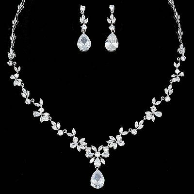 White Gold Plated Zirconia CZ Necklace Earrings Bridal Wedding Jewelry Set 06367