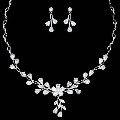White Gold Plated Zirconia CZ Necklace Earrings Bridal Wedding Jewelry Set 06395